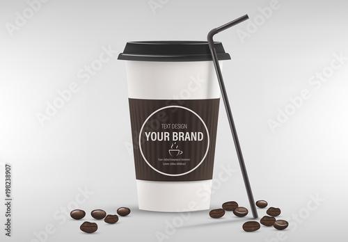 Coffee Cup Mockup with Espresso Bean Illustrations. Kaufen Sie diese ...