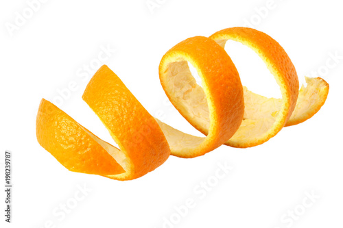 fresh orange peel isolated on white background Canvas Print