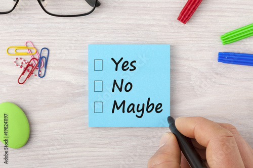Yes No Maybe check boxes Canvas-taulu