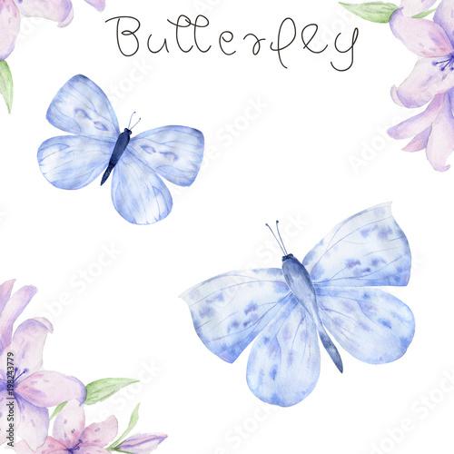 Türaufkleber Wasser Watercolor Butterfly