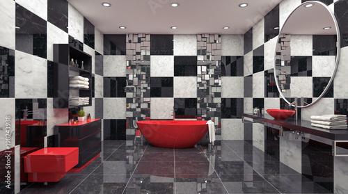 Modern interior design of bathroom 3d render 3d illustration