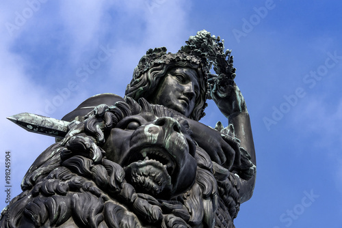 Spoed Foto op Canvas Artistiek mon. Germany, Bavaria, Munich, Theresienwiese: Close up of famous German Bavaria statue sculpture monument. It is a female personification of the Bavarian homeland and by extension its strength and glory.