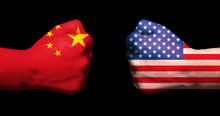 Flags Of USA And China On Two ...