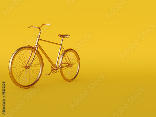 Tuinposter Fiets Ckassic vintage Bike mono color concept on yellow gold color background copy space. 3d render