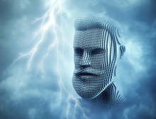 Head Of Man In Front Of Blue Thunder Sky