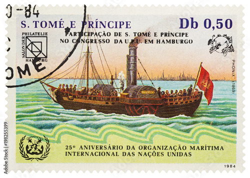 Fotografie, Obraz Old paddle steam ship Phoenix (1869) on postage stamp