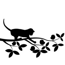 Vector Silhouette Of A Cat On ...