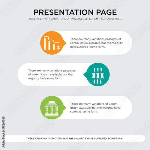 Stampe  bank branch, xxx, cost uction presentation design template in orange, green, yel