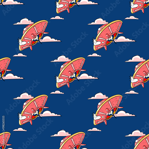 Fotografia  Unknown flying object seamless pattern