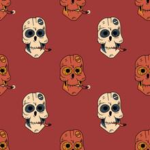 Smoking Robot Skull Seamless P...