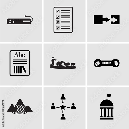 Set Of 9 Simple Editable Icons Such As Municipal Customer