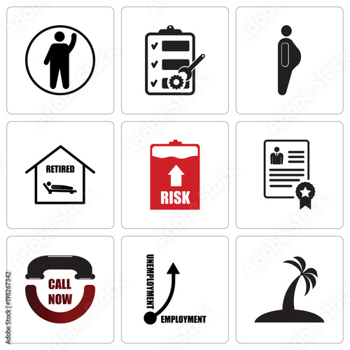 Stampe  Set Of 9 simple editable icons such as palm tree flat, unemployment, call now, p