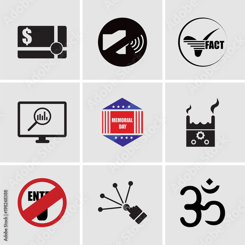 Stampe  Set Of 9 simple editable icons such as aum, reach, restricted entry, product dev