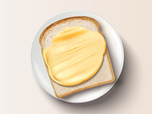 Butter Spreading On Bread