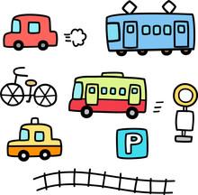 車と電車の手書きイラ...