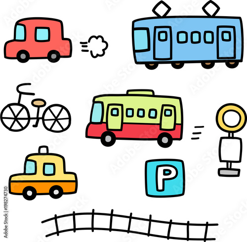 Fotografie, Obraz  車と電車の手書きイラストセット