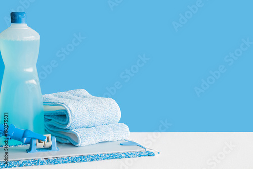 Garden Poster Spa Professional cleaning set for different floor surfaces in kitchen, bathroom and other rooms. Empty place for text or logo on blue background. Cleaning service concept. Early spring regular clean up.