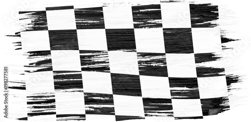 Obraz na plátně Closeup of art brush watercolor painting checkered black and white racing flag blown in the wind isolated on white