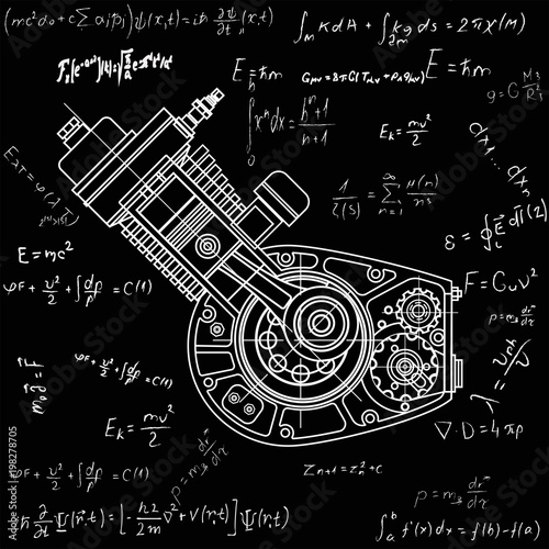 Fotografía Motocycle engine design isolated in black background
