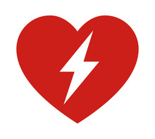 Red Automated External Defibrillator / Aed Sign With Heart And Electricity Symbol Flat Vector Icon