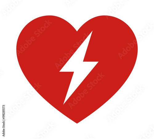 Red automated external defibrillator / aed sign with heart and electricity symbo Wallpaper Mural