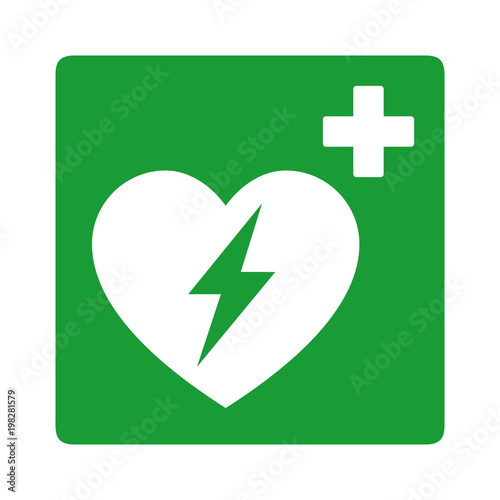 Fotografie, Obraz  Green automated external defibrillator / aed sign with heart and electricity sym