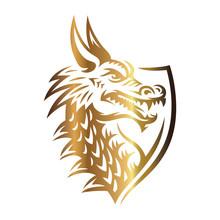 Gold Vector Head Of A Dragon I...