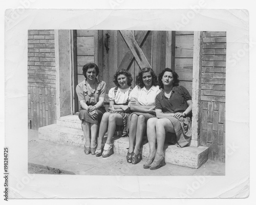 Happy women friends in 1945 Canvas Print