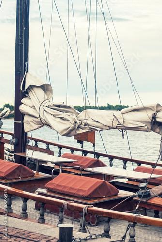 Keuken foto achterwand Schip Old yacht at the pier, Helsinki, Finland