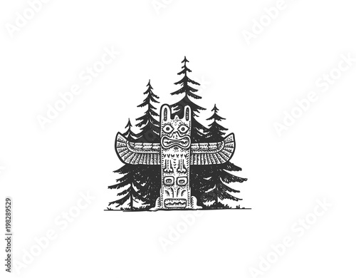 Indian Totem in the Woods Wall mural