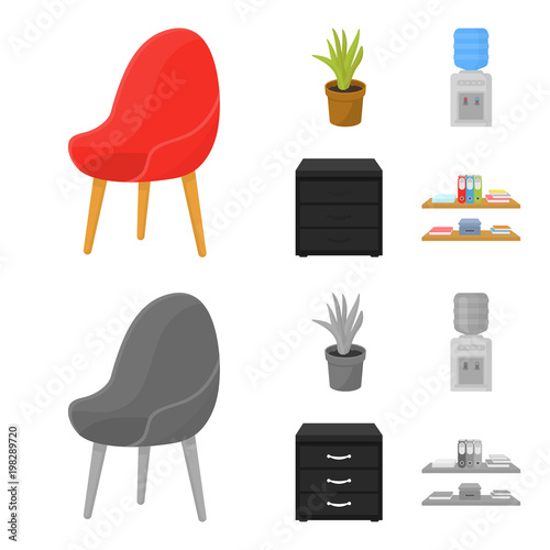 A red chair with a comfortable back, an aloe flower in a pot, an apparatus with clean water, a cabinet for office papers Poster