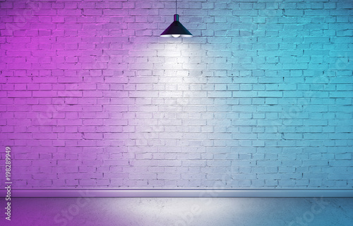 Poster Baksteen muur Interior room with textured white brick wall, concrete floor and plinth. Underground showroom with one hanging metal lamp and directional spotlight. Double light cyan and magenta. 3d rendering illustr
