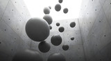 Fototapeta Przestrzenne - Abstract of architecture space with cement sphere ball are falling to the ground and light and shadow of the sun,3D render