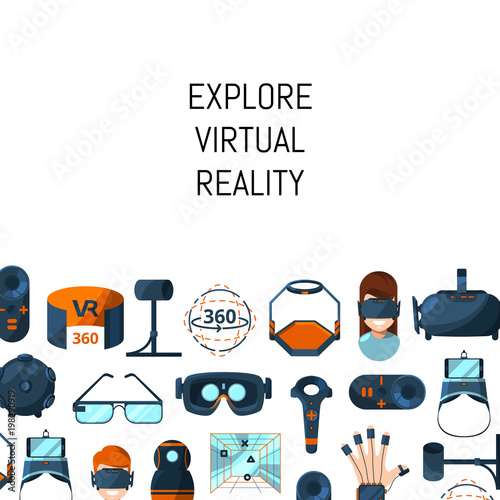 Vector background with flat style virtual reality elements Poster