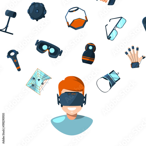 Valokuva  Vector concept illustration with flat style virtual reality elements