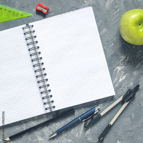 Fotografie, Obraz  concept with stationery supplies for teacher's day, top view with copy space