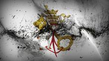 Emblem Of Papacy Grunge Flag Waving Loop. Emblem Of Papacy Dirty Flag Blowing On Wind.