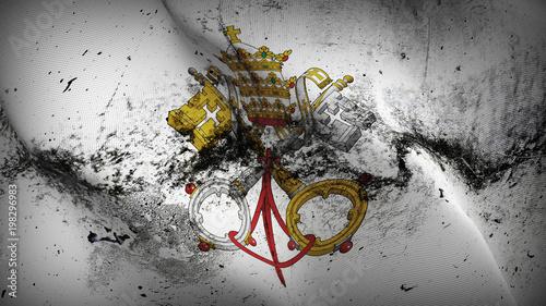 Vászonkép Emblem of Papacy grunge flag waving loop