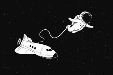 Astronaut flies in outer sp...