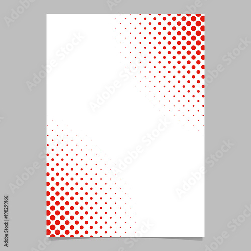 Halftone dot pattern flyer template - vector brochure background graphic design with red circles