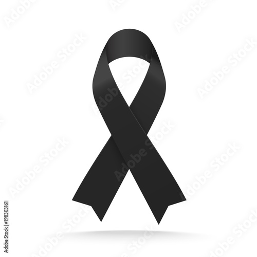 Photo Black mourning ribbon isolated on white background