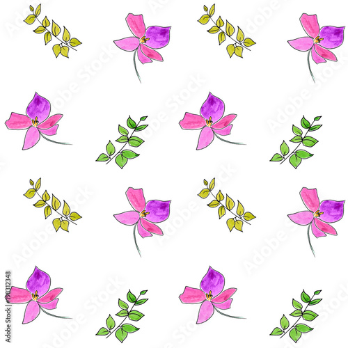 Tuinposter Vlinders Seamless floral pattern. Watercolor flowers. Floral background. Drawing background. Floral fabric template.