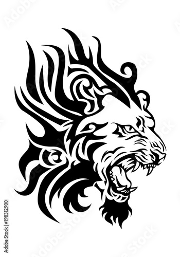 Fiery Lion Head Tattoo Buy This Stock Illustration And Explore