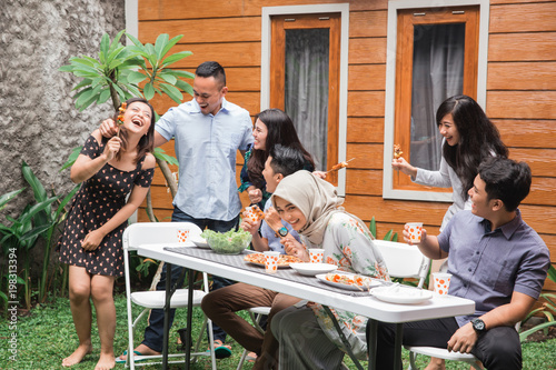 Fototapety, obrazy: Diverse asian people friends hanging together party