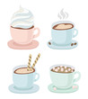 Set of a cup with saucer of hot coffee or chocolate with whipped cream, drawing of heart, wafer, small marshmallow, cookies. Steam over hot coffee, coffee beans. Vector illustration on white