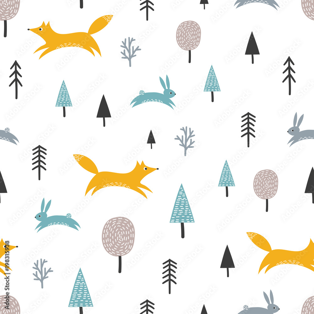 Seamless pattern with cute fox, hares and trees. Forest background, scandinavian style.