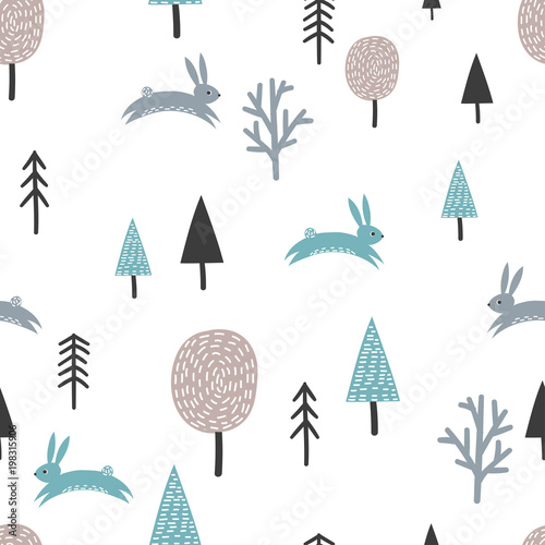 Scandinavian seamless pattern with cute rabbits and trees. Vector forest background.