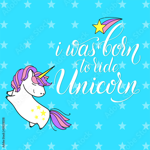 Unicorn cute vector lettering and illustration Poster