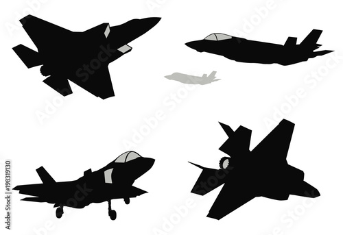 Fotografie, Obraz  Military stealth aircraft silhouettes collection. Vector