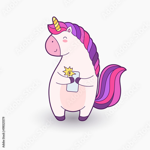 Spoed Foto op Canvas Magische wereld Cute cartoon magical unicorn. Vector illustration. Template for printing, background, texture, wallpaper, postcard. Unicorn holding a phone and makes selfie